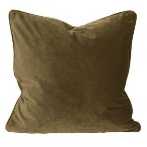 Kuddfodral Elise i sammet med passpoal, 60x60 cm, guldbrun