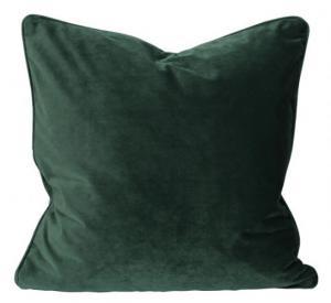Kuddfodral Elise i sammet med passpoal, 60x60 cm, mörkgrön