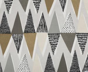 Metervara i tufft grafiskt 50-tals mönster, brun