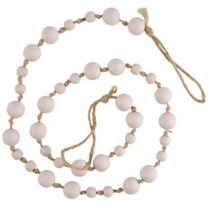 Målade träkulor på hampaband för omtag eller dekoration, rosa