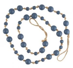 Målade träkulor på hampaband för omtag eller dekoration, blå