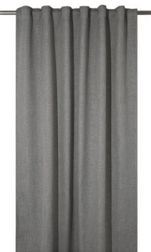 Extra långa mörkläggningsgardiner som ger rummet hotellkänsla, grå