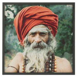 Textiltavla/Väggbonad i jacquard med motiv av en hinduisk man, Shakti