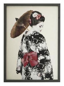 Textiltavla/Väggbonad i jacquard med motiv av en Geisha.