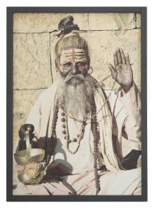 Textiltavla/Väggbonad i jacquard med motiv av en indisk man, Daksha.