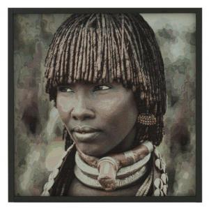 Textiltavla/Väggbonad i jacquard med motiv av en afrikansk stamkvinna, Leia