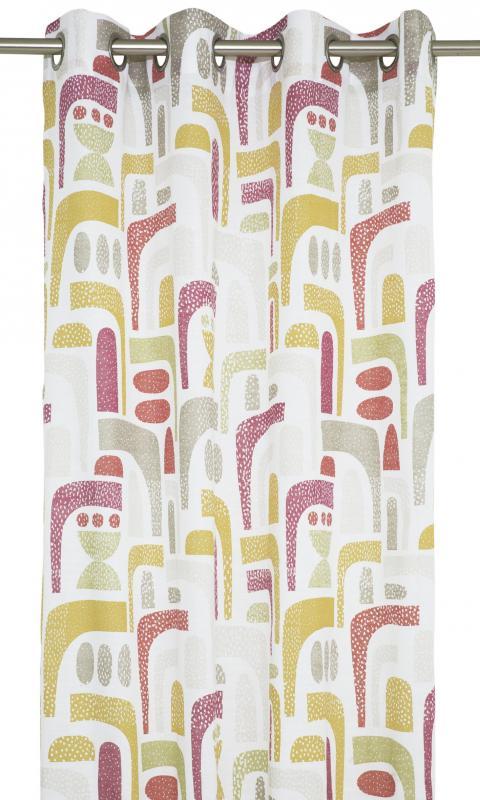 Gardinlängder med fantasifullt mönster i flera färger på vit botten. Design av Björkforth.