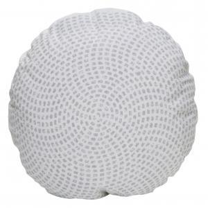 Runt kuddfodral i vitt med grå prickar som bildar ett häftigt mönster