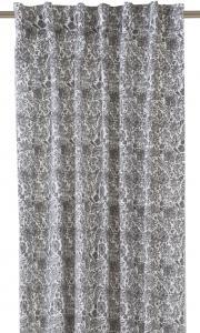 Gardinlängder med grå blommor på vit botten