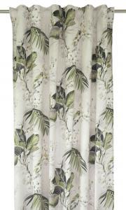 Gardinlängd Palmi i sammet med blad och fåglar, grön