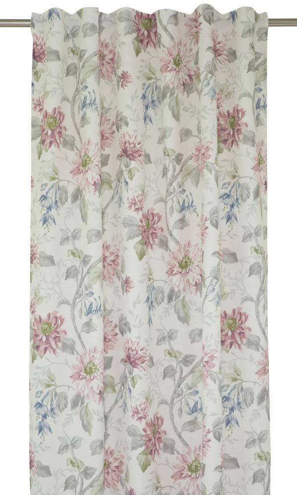 Gardinlängd Diania med vackert blommönster, rosa