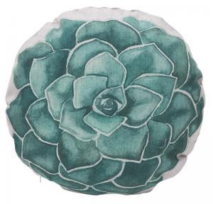 Rund kuddfodral med motiv av en turkos blomma