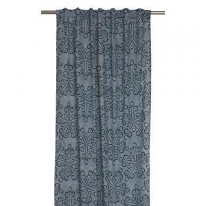 Gardinlängder Aiden 2-pack, grafiskt mönster, blågrå