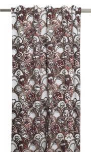 Gardinlängder med art deco mönster, designat av Louise Videlyck, rosa,vinröd