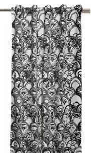 Gardinlängder med art deco mönster, designat av Louise Videlyck, svartgrå