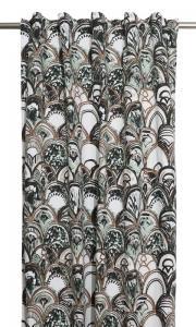 Gardinlängder med art deco mönster, designat av Louise Videlyck, turkos,grön