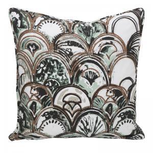 Kuddfodral med art deco mönster, designat av Louise Videlyck, turkos/grön