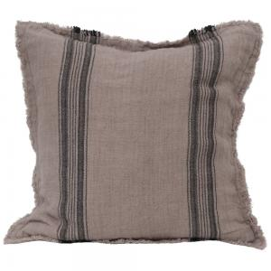 Kuddfodral i mjukt tvättat linne med vävda ränder i två olika färger