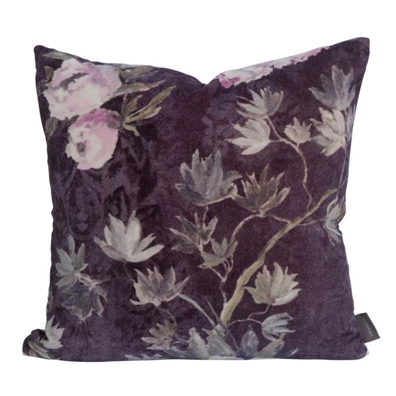 """Kuddfodral """"Merrill"""" i sammet med motiv av blommor"""