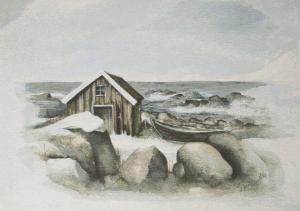 Väggbonad/textiltavlan Tromsö med marint motiv efter konstnären Grethe Selbæk Solemsløkks verk