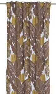 Gardinlängder med mönster av blad i ockragult