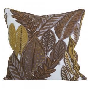 Kuddfodral med mönster av blad i ockragult