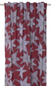 Gardinlängd Julestärn, med vackra stjärnor, design Louise Videlyck på röd botten