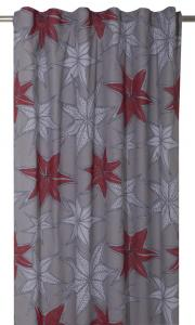 Gardinlängd Julestärn, med vackra stjärnor, design Louise Videlyck på grå botten