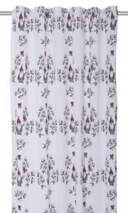 Gardinlängd Misteltomte, design Louise Videlyck, med söta tomtar, vit