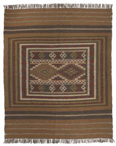 Matta Rashmika i jute och ull, inkainspirerad, stor matta