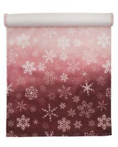 Löpare Bell i sammet med snöflingor ljust rosaröd