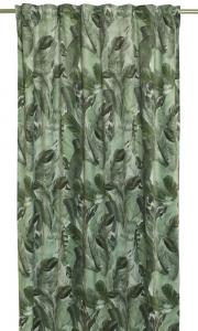 Gardinlängder Fons med motiv av vackra fjädrar i fin grön färg