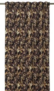 Gardinlängder Ramberg i sammet med digitaltryckta löv som motiv