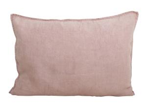 Avlångt kuddfodral i tvättat linne, Lovly, rosa