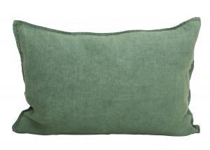 Avlångt kuddfodral i tvättat linne, Lovly, grön