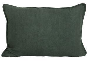 Avlångt kuddfodral i tvättat linne, Lovly, mörkgrön