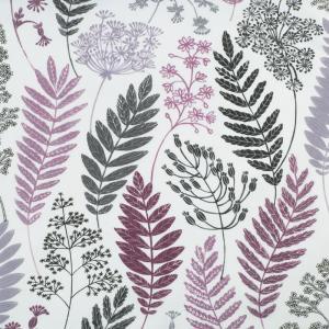 Metervara Kvistar och Blad av designern Betty Svensson, lila vinröd