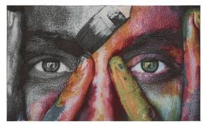 Textiltavla Yashi, närbild av målat ansikte