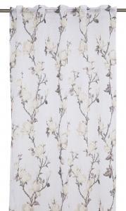 Gardinlängd Magnolia i tunn skir kvalité, vit med gula blommor