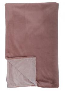 Pläd Fluffe i mjuk fuskpäls och enfärgad baksida, rosa