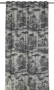 Gardinlängd Palms extralånga, linnefärgad botten med palmer.