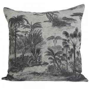 Kuddfodral Palms 60x60. linnefärgad botten med palmer