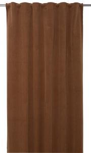 Gardinlängd Romby extra lång i sammet med diagonalrutigt mönster, rost