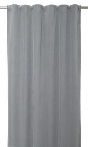 Gardinlängd Romby extra lång i sammet med diagonalrutigt mönster, grå