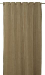 Gardinlängd Romby extra lång i sammet med diagonalrutigt mönster, ljus guld