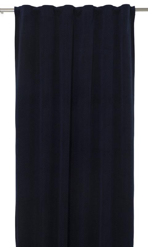 Gardinlängd Romby extra lång i sammet med diagonalrutigt mönster, blå