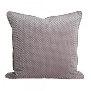 Kuddfodral Romby i sammet med diagonalrutigt mönster, rosa