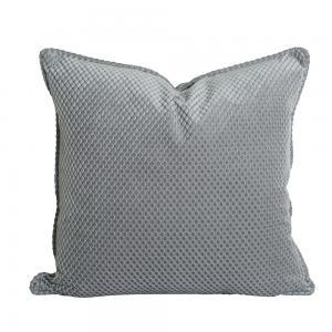 Kuddfodral Romby i sammet med diagonalrutigt mönster, grå