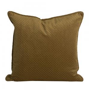 Kuddfodral Romby i sammet med diagonalrutigt mönster, guld