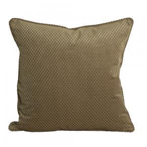 Kuddfodral Romby i sammet med diagonalrutigt mönster, ljus guld
